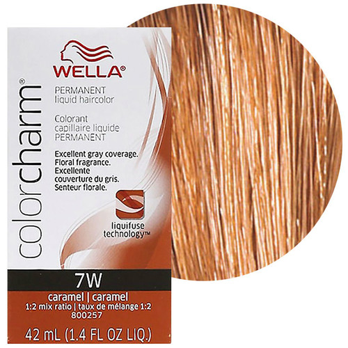 Wella Color Charm 7W Caramel 1.4 oz: box and color