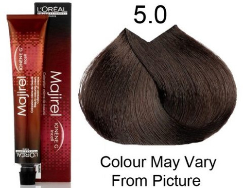 L'Oreal 5.0 Majirel Extra Coverage: tube, box, and color