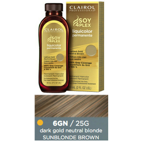 Clairol 25G Sunblonde Brown Hair Color 2 oz: bottle, box, and color