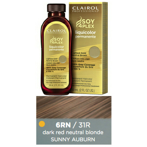 Clairol 31R Sunny Auburn Hair Color 2 oz: bottle, box, and color