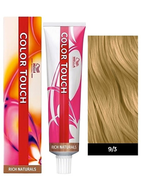 Well Hair Color 9/3 Light Golden Blonde: box, tube, and color