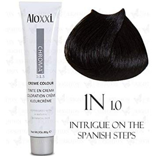 Aloxxi 1N Hair Color - Intrigue on the Spanish Steps: tube and color