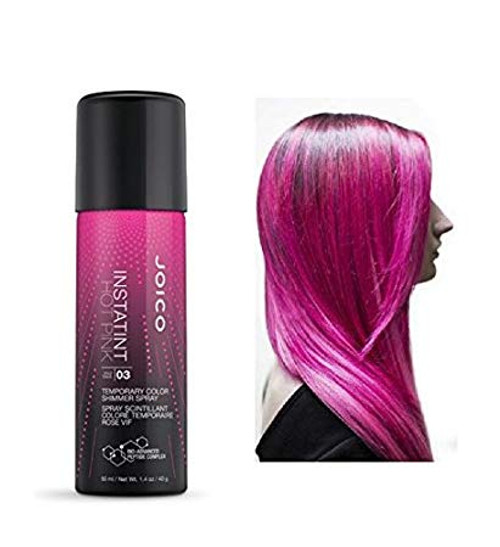 Joico Hot Pink Instant Color, 1.4 oz: spray can and hair example