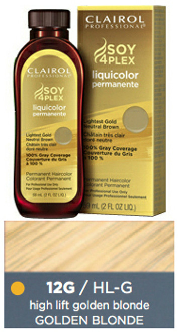 Clairol HL-G Golden Blonde Hair Color 2 oz: bottle, box, and color sample