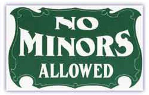 Pool Hall Advisory Sign - No Minors Allowed