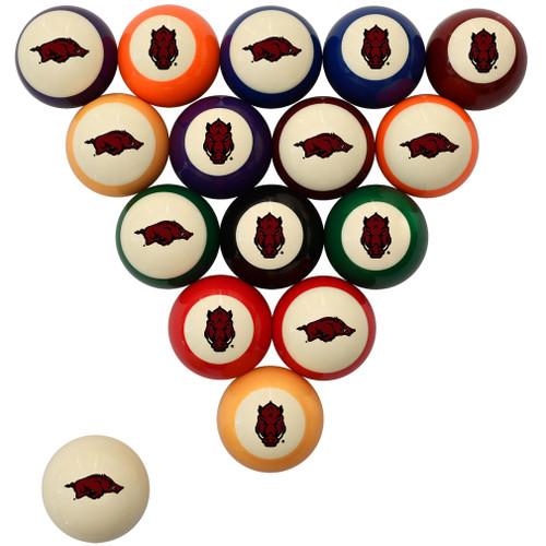 Arkansas Razorbacks Billiard Ball Set - Standard Colors