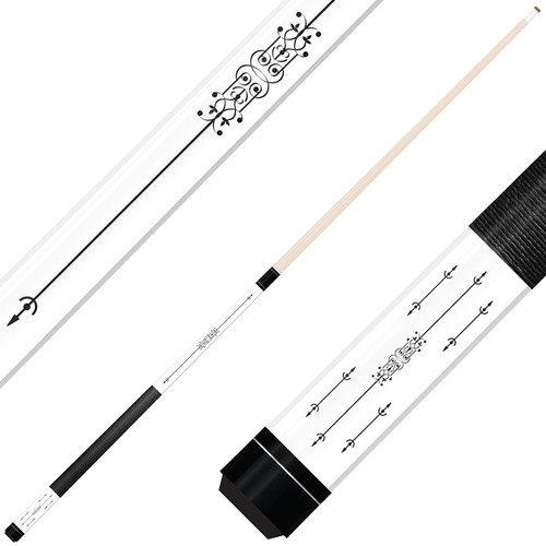 Forged Etched Series ET02 Custom Engraved White Pool Cue – Black
