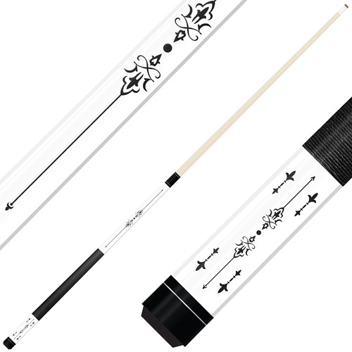 Forged Etched Series ET03 Custom Engraved White Pool Cue – Black