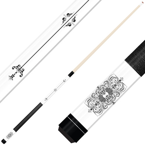 Forged Etched Series ET05 Custom Engraved White Pool Cue – Black