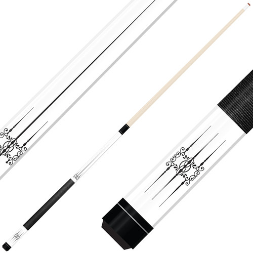 Forged Etched Series ET06 Custom Engraved White Pool Cue – Black