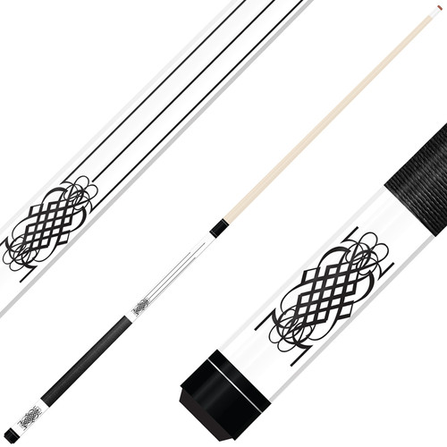 Forged Etched Series ET08 Custom Engraved White Pool Cue – Black