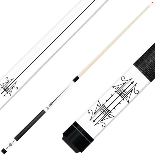Forged Etched Series ET09 Custom Engraved White Pool Cue – Black