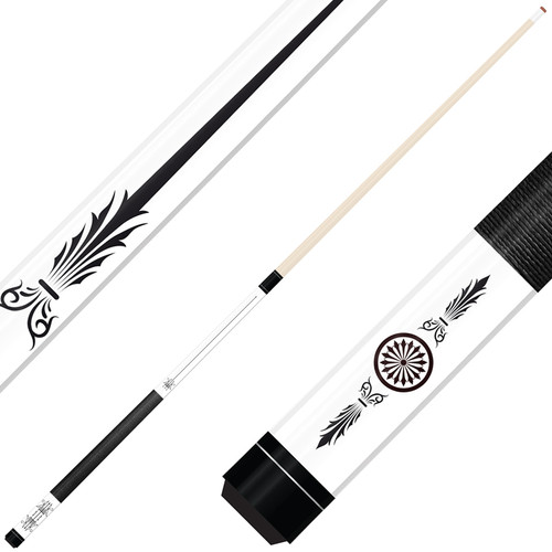 Forged Etched Series ET10 Custom Engraved White Pool Cue – Black