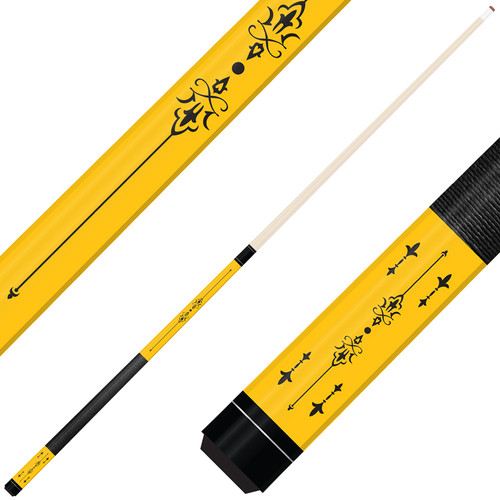 Forged Etched Series ET03 Custom Engraved Yellow Pool Cue – Black