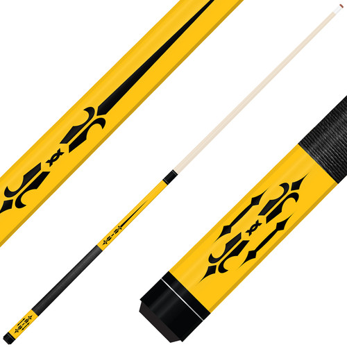 Forged Etched Series ET04 Custom Engraved Yellow Pool Cue – Black