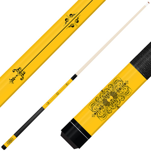 Forged Etched Series ET05 Custom Engraved Yellow Pool Cue – Black