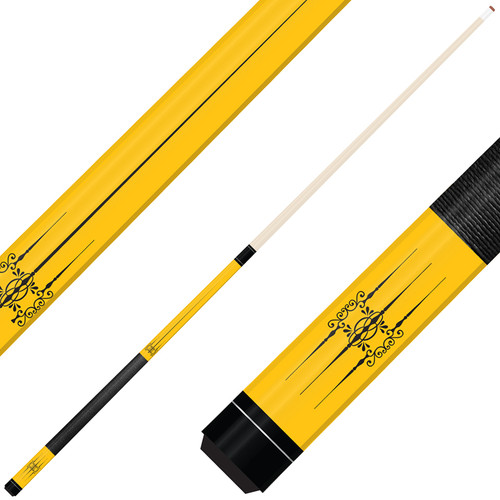Forged Etched Series ET06 Custom Engraved Yellow Pool Cue – Black