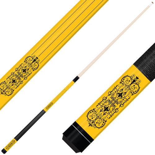 Forged Etched Series ET07 Custom Engraved Yellow Pool Cue – Black