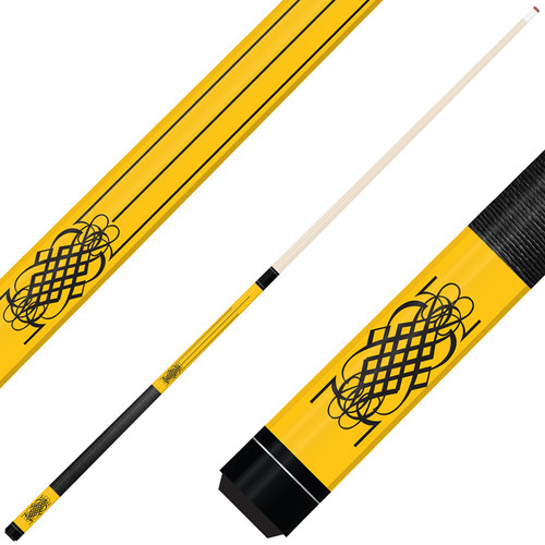 Forged Etched Series ET08 Custom Engraved Yellow Pool Cue – Black