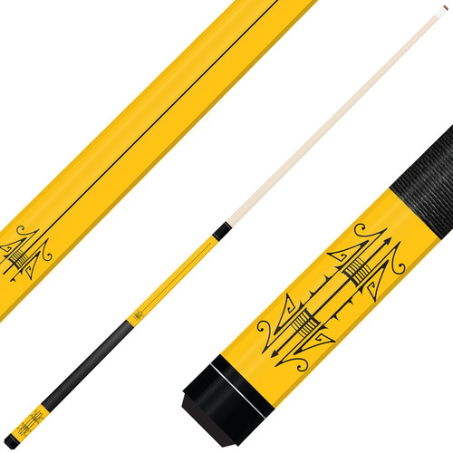 Forged Etched Series ET09 Custom Engraved Yellow Pool Cue – Black