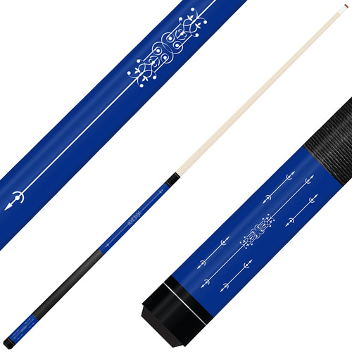 Forged Etched Series ET02 Custom Engraved Blue Pool Cue – White