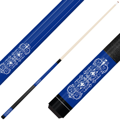 Forged Etched Series ET07 Custom Engraved Blue Pool Cue – White
