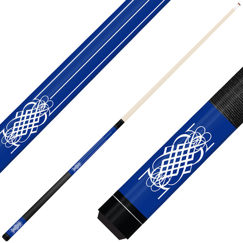 Forged Etched Series ET08 Custom Engraved Blue Pool Cue – White