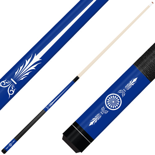 Forged Etched Series ET10 Custom Engraved Blue Pool Cue – White