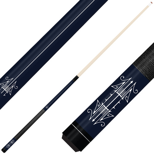 Forged Etched Series ET09 Custom Engraved Navy Pool Cue – White