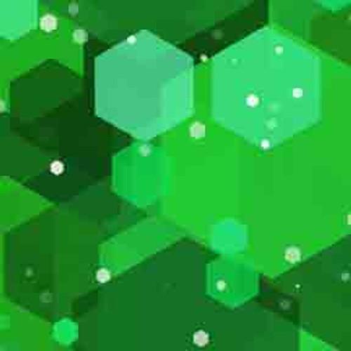Green Hexagons 7' ArtScape Pool Table Felt