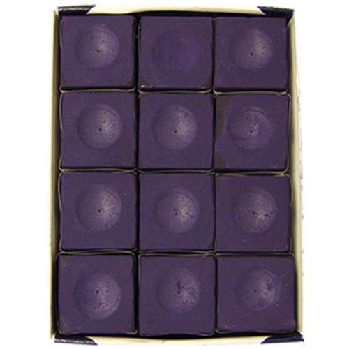 12 piece Purple Silver Cup Pool Stick Chalk