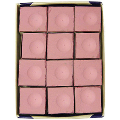Pink 12 pc. Box of Silver Cup Cue Chalk