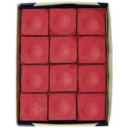 Red Silver Cup Pool Stick Chalk, 12 pc. Box