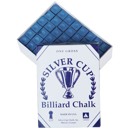 144 pc. Box (1 gross) Silver Cup Pool Stick Chalk, Blue