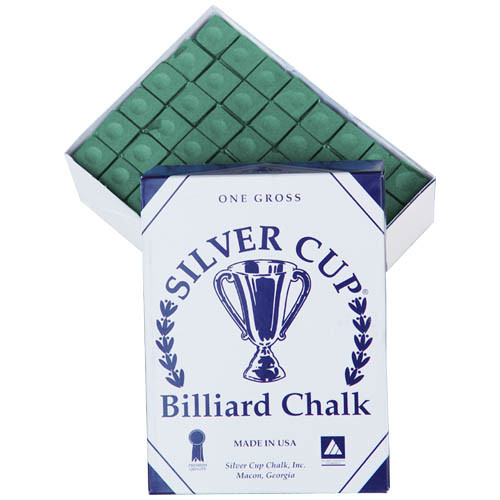 144 pc. Box (1 gross) Silver Cup Green Pool Cue Chalk