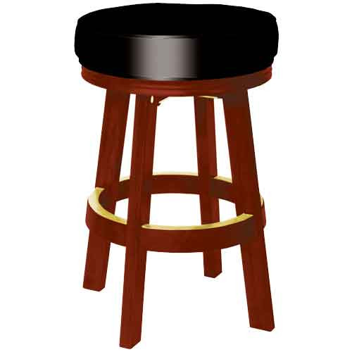 Sterling Padded Bar Stool, Mahogany w/Black Vinyl