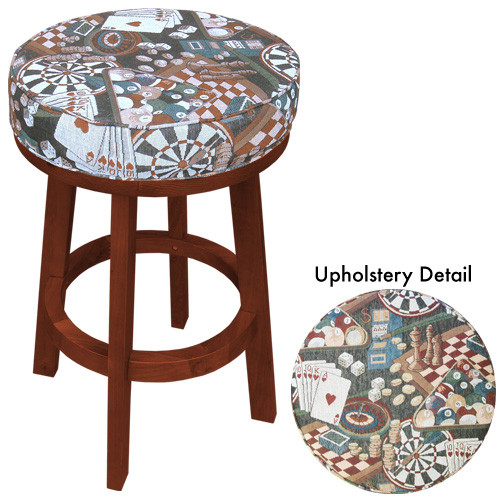 Sterling Padded Bar Stool, Mahogany w/Game Room Print
