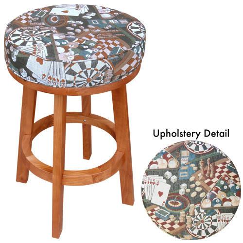 Sterling Padded Bar Stool, Oak w/Game Room Print