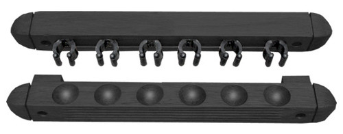 Two Piece Black Roman Style Wall Rack for 6 Cues