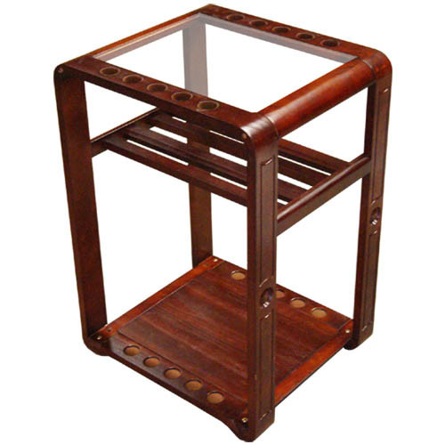 Glass-Top Mahogany Table with Pool Table Accessory Storage