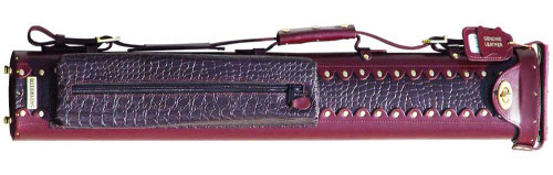 Burgundy Leather Pool Cue Case for Two Cues
