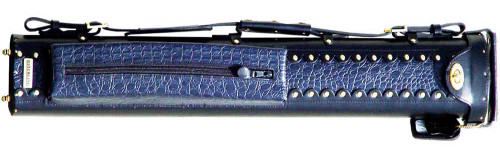 Black and Blue Leather Pool Cue Case for Two Cues