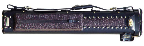 Black and Brown Leather Pool Cue Case for Two Cues