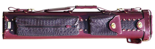 Burgundy Leather Pool Cue Case for Two Cues and Two Extra Shafts