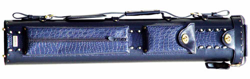 Black and Blue Leather Pool Cue Case for Two Cues and Two Extra Shafts