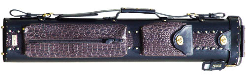 Black and Brown Leather Pool Cue Case for Two Cues and Two Extra Shafts