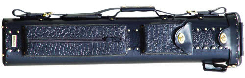 Black Leather Pool Cue Case for Three Cues and Two Extra Shafts