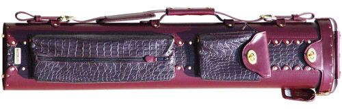 Burgundy Leather Pool Cue Case for Three Cues and Two Extra Shafts