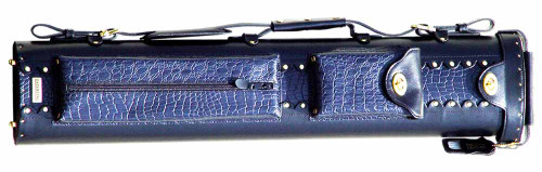 Black and Blue Leather Pool Cue Case for Three Cues and Two Extra Shafts