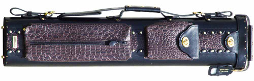 Black and Brown Leather Pool Cue Case for Three Cues and Two Extra Shafts